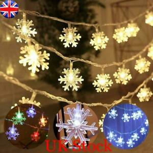 NEW Christmas LED Snowflake Fairy String Lights Xmas Twinkle Hanging Party Decor