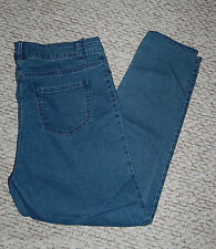 Womens Denim Jeggings TAPERED LEG Blue BUTTON CLOSE 1X 16-18 Mock Front POCKETS