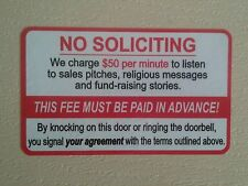 No Soliciting Funny Front Door Sign Sticker. NEW 5×3inch.