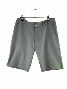 Hurley Bermuda Logo Shorts Mens Size 30 Grey Striped Zip Casual Golf Pockets
