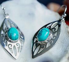 Moderne Ohrhänger 5 cm Lang Türkis Ohrringe Silber Handarbeit Ellipse Verspielt
