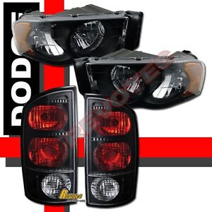 02-05 Dodge Ram 1500 2500 3500 Black Headlights & Tail Lights Set