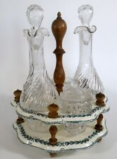 serviteur porcelaine et verre à condiment Ancien  huile vinaigre art nouveau