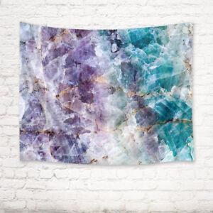 Purple & Turquoise Quartz Stone Background Tapestry Wall Hanging for Living Room