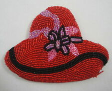 "Red Hat Heavy Beaded Coin Change Purse Zippered 5.25"" x 3.75"" Shimmery Metallic"