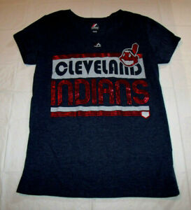 Cleveland Indians Womens Juniors Medium T-Shirt Majestic Shiny Red Foil Printing