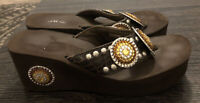 GRAZIE Sandals Women's Flip Flops size 11. BLING! Platform! Excellent Preowned!