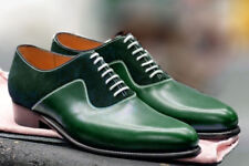 Handmade Green Leather And Suede Shoes, Oxford Designer Shoes, Dress Formal Shoe