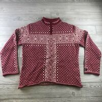 ICEWEAR size XL 100% pure  wool pullover knit sweater pattern hot pink (I153)