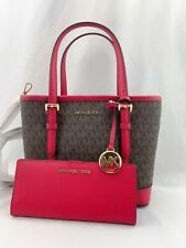 NWT Michael Kors Jet Set Travel XS Tote Satchel Bag + Bifold Wallet Set Scarlet