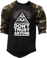 Men's Don't Trust Anyone Camo Baseball Raglan T Shirt Illuminati Triangle Eye