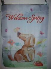 "Welcome Spring Dog Garden Flag 12"" x 18"" Double Thickness Two Sided +"