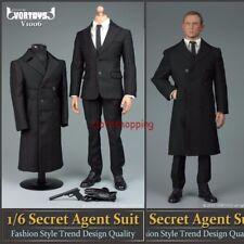 1/6 James Bond 007 Agent Suit Black Overcoat Pants Clothes Set F 12'' Figure Toy
