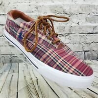 Polo Ralph Lauren Vaughn Boat Shoes Fashion Sneakers Men's 9.5 D Madras Plaid