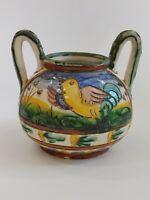 """Antique Majolica 2 Handled Bird Sugar Bowl 4.75""""-5.75"""""""