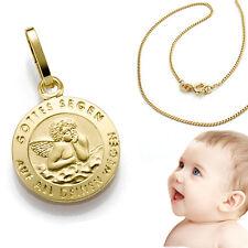 Kinder Baby Schutzengel Gold 333 Gott schütze Dich + Kette Silber 925 vergoldet