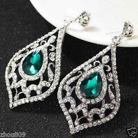 New Fashion Women Elegant Crystal Rhinestone Ear Stud silver dangle Earrings 429