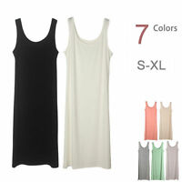 Extra Long Stretchy Layer Cami Tank Top Bandage Fitted Basic Mini Dress S-XL