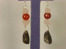 Genuie Rose Quartz Carnelian Abolone Shell sterling silver earrings