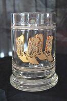Vintage Glass Mugs Beer Glasses Gold Cowboy Boots