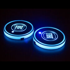 2X Colorful Fit For Fiat LED Lights Mats Car Cup Holder Bottom Pads Mat Interior