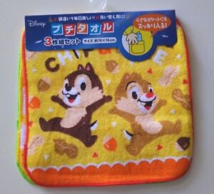 3pc Japan Disney Chip 'n Dale mini size hand towel handkerchief kid 100% cotton