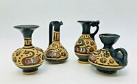 4 Miniature Greek Pottery Clay Vase Urn Pitcher Hand Painted Black Tan Yellow