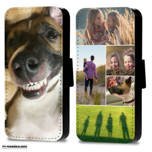 PERSONALISED PHOTO OR COLLAGE FLIP WALLET PHONE CASE COVER FOR SAMSUNG & APPLE