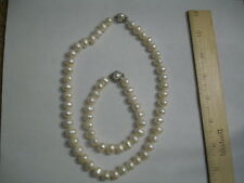 "16"" White 9-10mm Single Strand Pearls Clasp Necklace Bracelet Earrings Set Real"