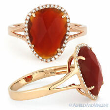 Halo Right-Hand 14k Rose Gold Ring 2.89ct Checkerboard Red Agate & Round Diamond