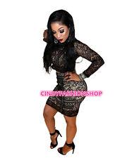 USA Hot Women 2PC Sexy Elegant  Long Sleeve Club Party Bandage Slim Lace Dress