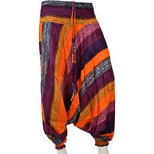 Harem Boho Orange Striped Low-Cut Baggy Hip Hop Hippy Aladdin Boho Trouser Pant