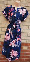 BLUE PINK FLORAL V NECK SHORT SLEEVE SHIFT BELTED TUNIC BAGGY SLIP DRESS 10 12