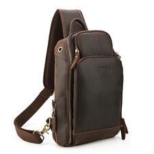 Men USB Chargin Real Leather Sling Bag Shoulder Sport Pouch Chest Pack Crossbody
