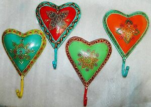 NEW DECORATIVE METAL HAND PAINTED VINTAGE HEART WALL HOOKS FLORAL FROM INDIA