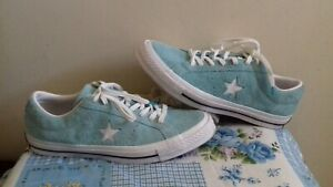 Converse One Star Turquoise Blue Suede Leather Trainers  Size UK 11 EU 45 VGC