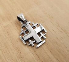 925 Sterling Silver Jerusalem Cross Pendant Charm From Holy Land & Certificate S