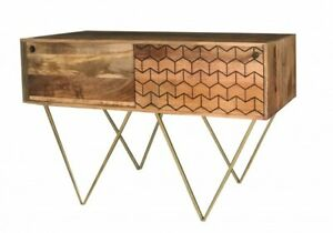Wooden Console Table with 2 Sliding Doors made from Mango Wood