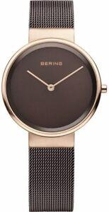 Bering Time Classic Ladies Pink & Brown Milanese Mesh Watch 14531-262