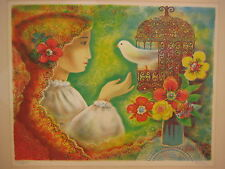 TORRES LIMITED EDITION LITHOGRAPH PRINT GIRL WITH BIRDCAGE, SIGNED & NUMBERED