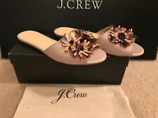 J.CREW SATIN SLIDES WITH FLORAL EMBELLISHMENTS SIZE 8M WARM SANDSTONE G8895