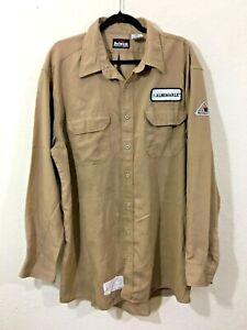 Men's Bulwark Protective Apparel Flame Resistant Khaki Button Front Shirt XXL