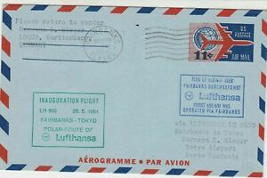 United States 1964 Flight Fairbanks-Tokyo Polar Airmail Stamps Cover Ref 29397