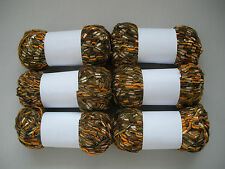 6 x 50g Brown Beige Orange Black Mix - Unlabelled - Ribbon Ladder Knitting Yarn