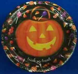 """Happy Candy Eating Haunted House Carnival Halloween Party 7"""" Dessert Plates"""