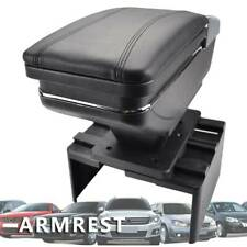 Universal Car Center Container Armrest Box Black Storage PU Leather Cup Holder