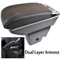 Dual-Layer Black Leather Arm Rest For 2014-2017 Octavia Mk3 Centre Console Storage Box Armrest