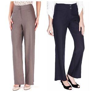 EX Ladies M&S Navy / Beige Linen Blend Straight Leg Trousers (17)