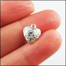 15 New Heart Clear Charms Crystal Flower Pendants Silver Plated 10x11.5mm