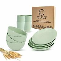 Wheat Straw Dinnerware Sets (12pcs) Green-Unbreakable Microwave Safe-Lightweight